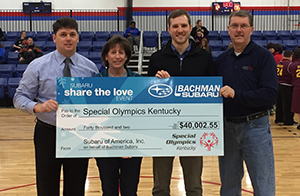 Bachman Subaru presented a check for more than $40,000 from the 2016 Share the Love Event at the 2017 State Basketball Tournament.