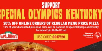 """Use Promo Code """"SOKY20"""" to save 20% and support SOKY at papajohns.com"""